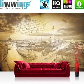 Vlies Fototapete no. 3513 | Stadt Tapete Berlin, Fernsehturm, Invalidendom, Rotes Rathaus, Gedicht gelb | liwwing (R)