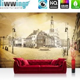 Vlies Fototapete no. 3514 | Stadt Tapete Altstadt, Springbrunnen, Mittelalter, Renaissance, Gedicht gelb | liwwing (R)