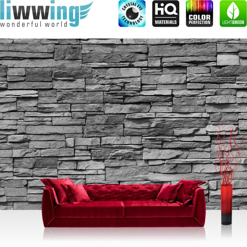 vlies fototapete asian stone wall anthrazit anreihbar. Black Bedroom Furniture Sets. Home Design Ideas