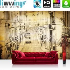 Vlies Fototapete no. 3515 | Stadt Tapete Altstadt, Straßenbahn, Retro, Vintage gelb | liwwing (R)