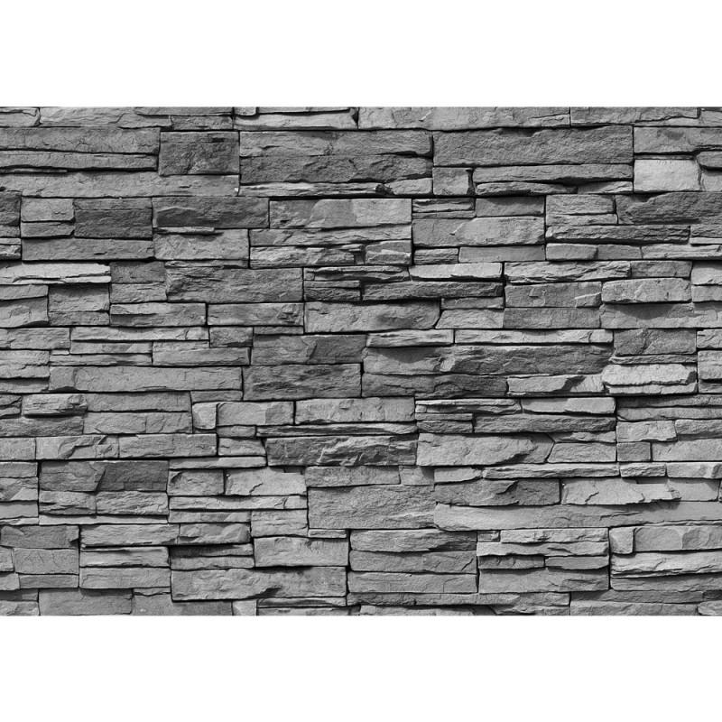 "Fototapete ""Asian Stone Wall - Anthrazit - Anreihbar"" | Steinwand"