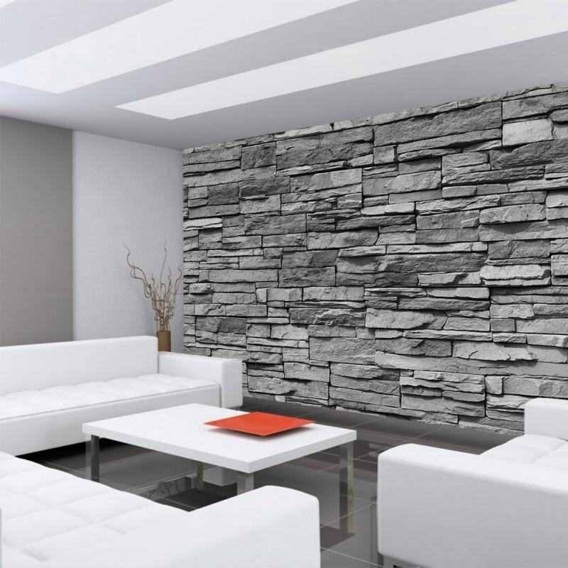 Tapete steinoptik grau tapete vlies stein optik wei grau for Tapete steinoptik schlafzimmer