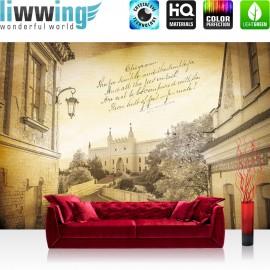 Vlies Fototapete no. 3518 | Stadt Tapete Altstadt, Schloss, Mittelalter, Renaissance, Gedicht gelb | liwwing (R)