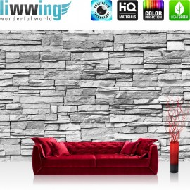"Vlies Fototapete ""Asian Stone Wall - grau - anreihbar"" | Steinwand Tapete Steinoptik Steine Wand Wall grau"