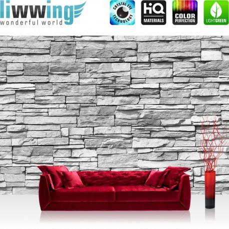 "Vlies Fototapete ""Asian Stone Wall - grau - anreihbar""   Steinwand Tapete Steinoptik Steine Wand Wall grau"