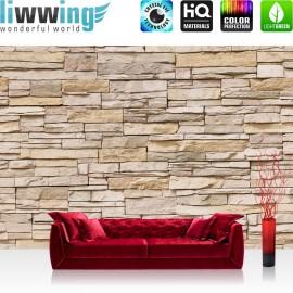 "Vlies Fototapete ""Asian Stone Wall - beige - ENDLOS - anreihbar"" | Steinwand Tapete Steinoptik Steine Wand Wall beige"