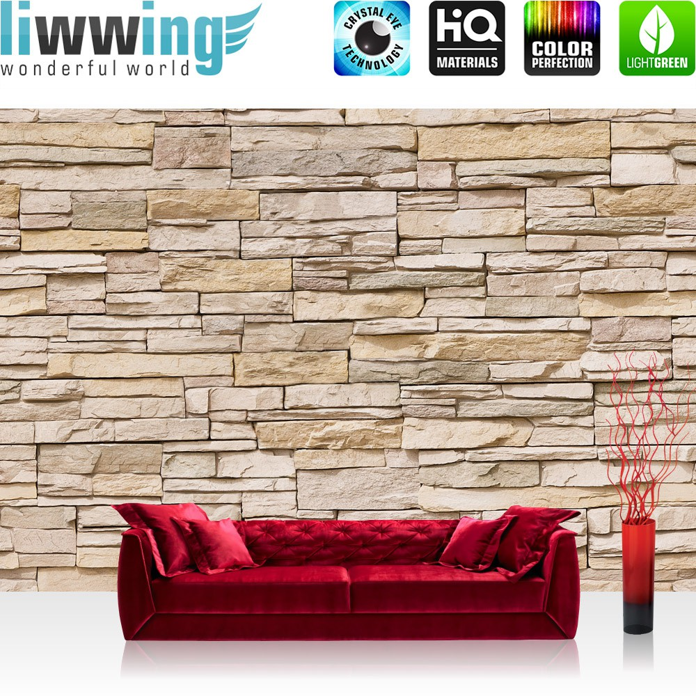 Vlies Fototapete Asian Stone Wall   Beige   ENDLOS   Anreihbar .