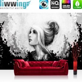 Vlies Fototapete no. 3555   Kunst Tapete Comic Art, Frau, Mädchen schwarz - weiß   liwwing (R)