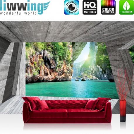 Vlies Fototapete no. 3564   Berge Tapete Paradies, Wasser, Felsen, Holz türkis   liwwing (R)