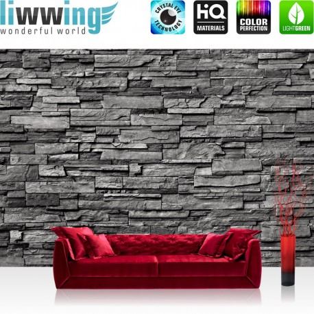 "Vlies Fototapete ""Noble Stone Wall - anthrazit - ENDLOS - anreihbar"" | Steinwand Tapete Steinoptik Steine Wand Wall grau"