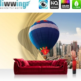 Vlies Fototapete no. 3566 | Stadt Tapete Heißluftballon, Wolkenkratzer, Ballonfahrt, Großstadt bunt | liwwing (R)