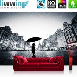 Vlies Fototapete no. 3570 | Stadt Tapete Regen, Person, Silhouette, Schirm, Stadt schwarz - weiß | liwwing (R)