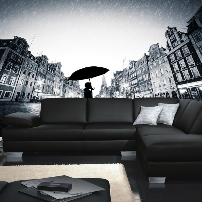 vlies fototapete no 3570 vliestapete liwwing r stadt tapete regen person shilouette. Black Bedroom Furniture Sets. Home Design Ideas
