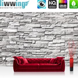 PREMIUM Fototapete - no. 132   Noble Stone Wall - grau - ENDLOS - anreihbar Steinwand Steinoptik