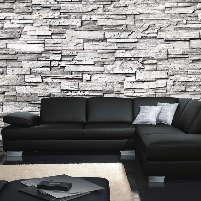 vlies fototapete noble stone wall grau endlos anreihbar steinwand tapete steinoptik steine wand wall grau - Steinwand Grau