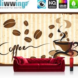 Vlies Fototapete no. 3170 | Kaffee Tapete Tasse, Kaffeebohnen, Café braun | liwwing (R)