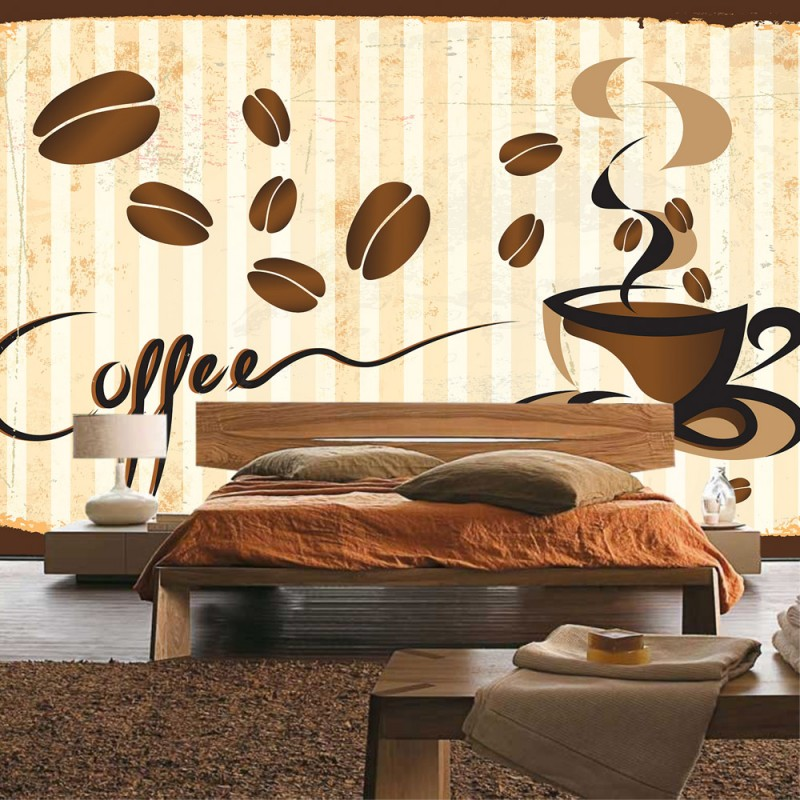 vlies fototapete no 3170 vliestapete liwwing r kaffee tapete tasse kaffeebohnen caf braun. Black Bedroom Furniture Sets. Home Design Ideas