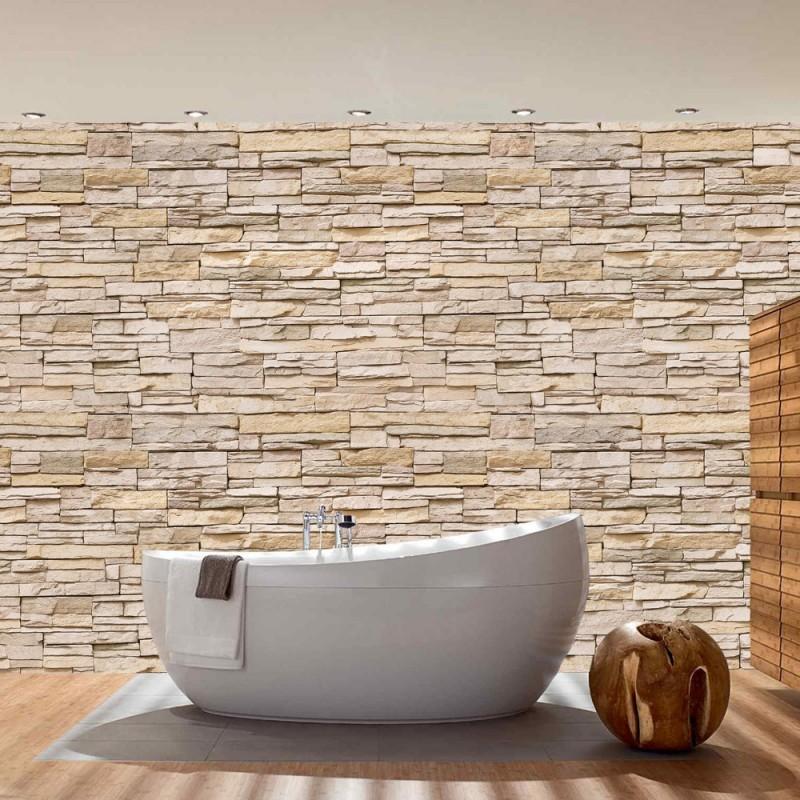 """Fototapete """"Asian Stone Wall No. 2 - Beige - Kleinere Steine"""