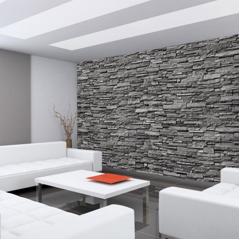 vlies fototapete noble stone wall no 2 anthrazit. Black Bedroom Furniture Sets. Home Design Ideas
