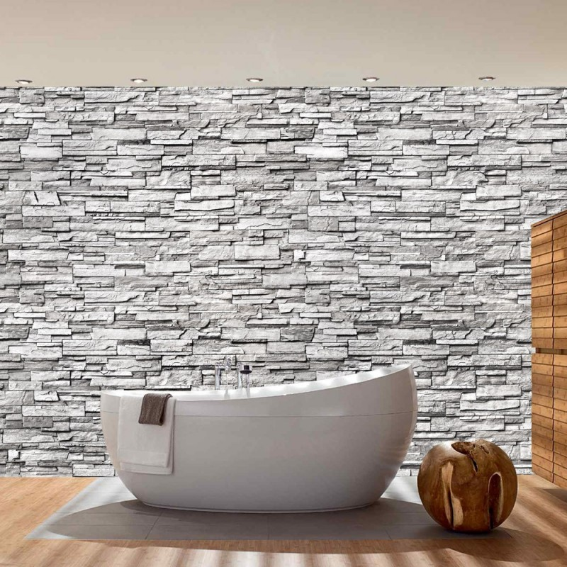 "Fototapete ""Noble Stone Wall No. 2 - Grau - Kleinere Steine"
