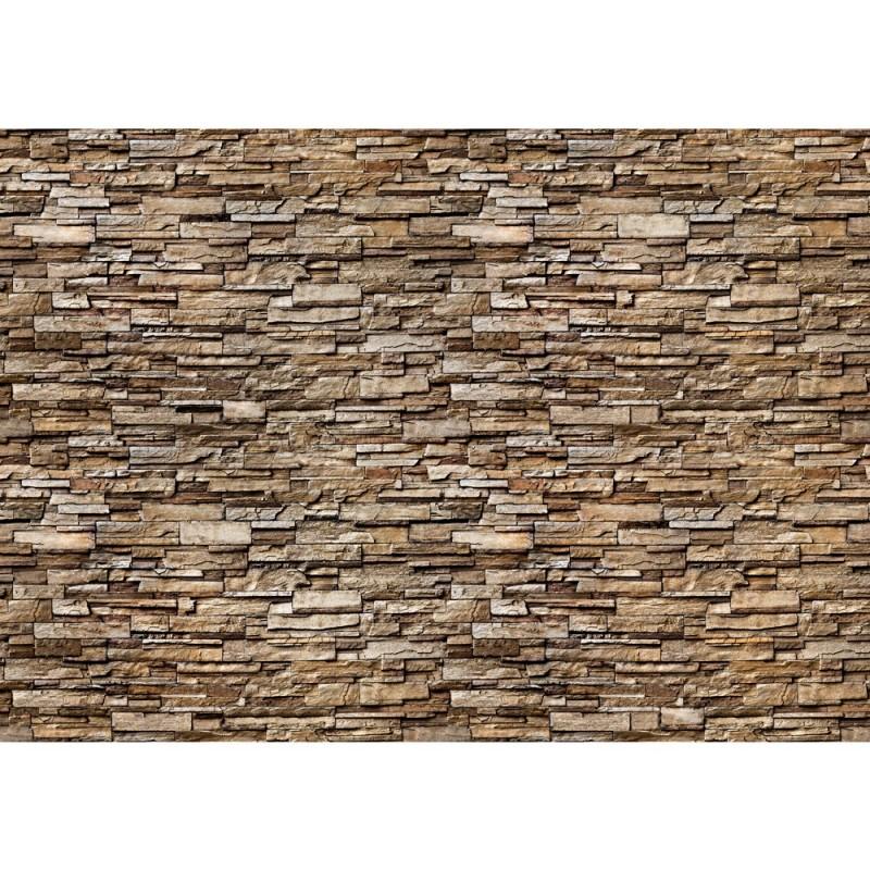 """Fototapete """"Noble Stone Wall No. 2 - Braun - Kleinere Steine"""