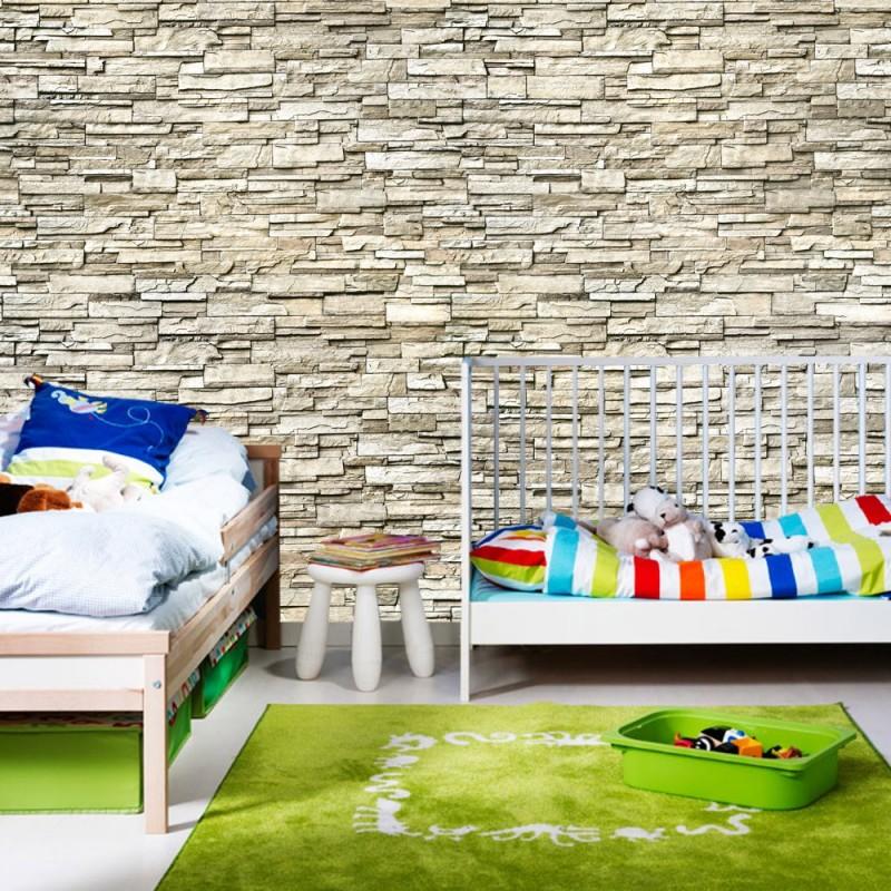 """Fototapete """"Noble Stone Wall No. 2 - Beige - Kleinere Steine"""