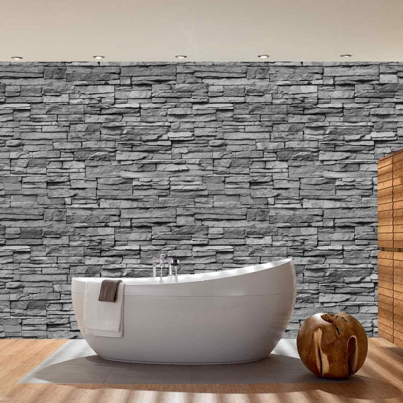 steinwand tapete vlies fototapete quot noble grey stone. Black Bedroom Furniture Sets. Home Design Ideas