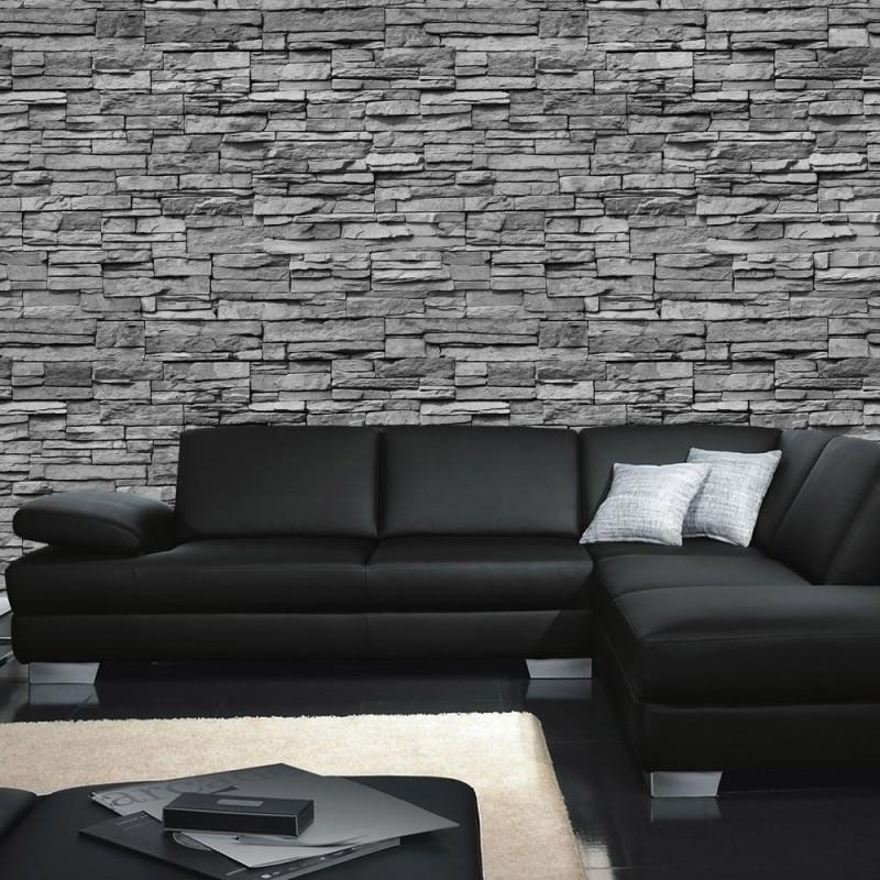 Steinwand Wohnzimmer Grau