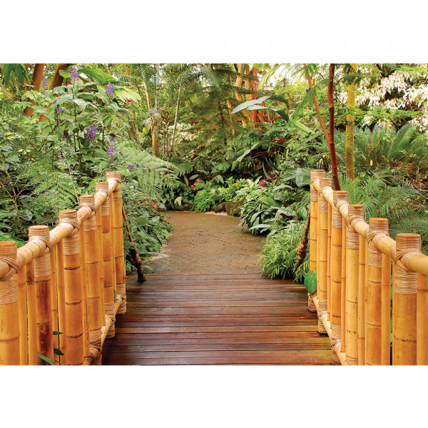 Fototapete Bambus Tapete Tropisch Brücke Bambus Pflanzen grün | no. 1712