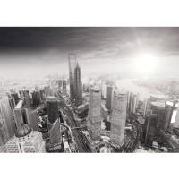 Fototapete Black and White Shanghai Sunset Skyline Tapete Wolkenkratzer schwarz - weiß | no. 49