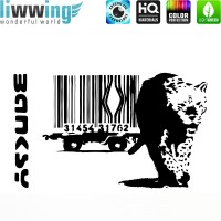 Wandsticker - No. 4662 Wandtattoo Sticker Wohnzimmer Banksy Streetart Graffiti London Straßenkunst Tiger Barcode