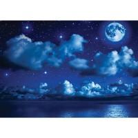 Fototapete Sternenhimmel Tapete Nacht Mond Sterne Sternenhimmel Wolken Meer blau | no. 2239