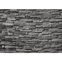Fototapete Noble Stone Wall - anthrazit - ENDLOS anreihbar Tapete Steinwand Steinoptik Steine Wand Wall grau | no. 131