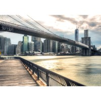 Fototapete New York Brooklyn Bridge Skyline USA Tapete New York USA Skyline Sephia Brooklyn Bridge NYC beige | no. 43