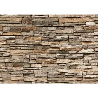 Fototapete Asian Stone Wall - braun anreihbare Tapete Steinwand Steinoptik Steine Wand Wall braun | no. 128