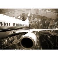 Fototapete Skyline Fligt USA Tapete Skyline Flugzeug Urlaub braun sephia schwarz - weiß | no. 48