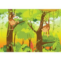 Fototapete Jungle Animals Monkeys Kindertapete Tapete Kinderzimmer Safari Comic Affen Dschungel Äffchen grün | no. 94