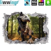 Wandsticker - No. 4772 Wandtattoo Sticker Durchblick Durchbruch Aussicht Dinosaurier Dinos TRex