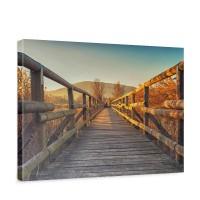 Leinwandbild Holzweg Sonnenaufgang Romantisch Aussicht | no. 175