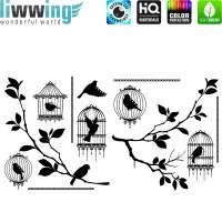 Wandsticker - No. 4825 Wandtattoo Sticker Strasssticker Baum Natur Vogel Vögel Vogelkäfig Park