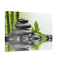 Leinwandbild Steine Wasser Natur Abstrakt Ruhe | no. 203