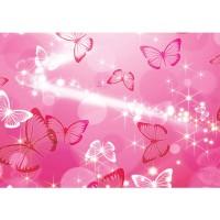 Fototapete Kunst Tapete Blasen Sterne Schmetterling Muster rosa | no. 2915
