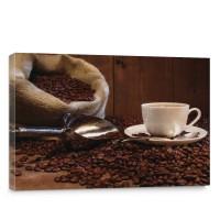 Leinwandbild Kaffeetasse Kaffeebohnen Sack Tasse Löffel Bohne Schaufel Holzwand | no. 866