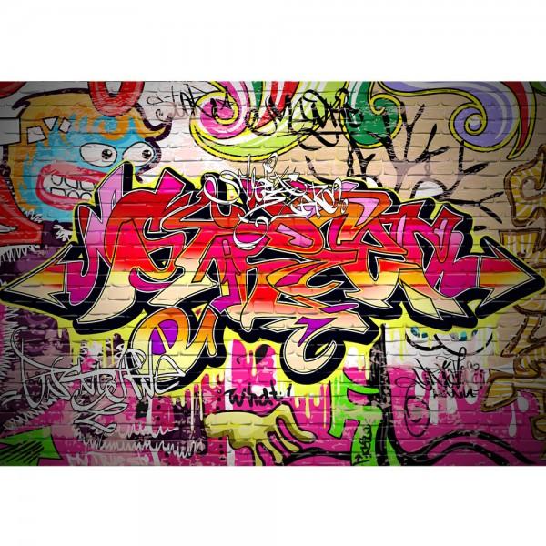 Fototapete Graffiti Tapete Kinderzimmer Graffiti Streetart Graffitti Sprayer 3D bunt braun   no. 220