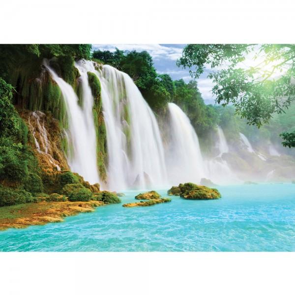 Fototapete Wasser Tapete Wasserfall, Dschungel, See, Fluss, Tropen bunt   no. 3296