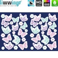 Wandsticker - No. 4820 Wandtattoo Sticker Leuchtsticker Fluoreszierend Neon Schmetterlinge