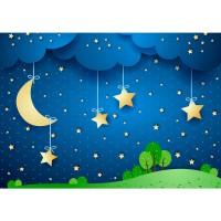 Fototapete Dreaming Night Kindertapete Tapete Kindertapete Sternenhimmel Stars Sterne Nachthimmel Mond blau | no. 120