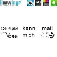 Wandsticker - No. 4840 Wandtattoo Sticker Frühe Vogel Text Schrift Wörter Spruch Sprüche