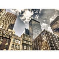 Fototapete Manhattan Skyscrapers USA Tapete NYC Hochhäuser Streetview New York Skyline bunt | no. 54