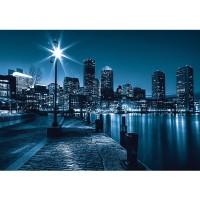 Fototapete New York Tapete Laterne Nacht Skyline Lichter Fluss blau | no. 856
